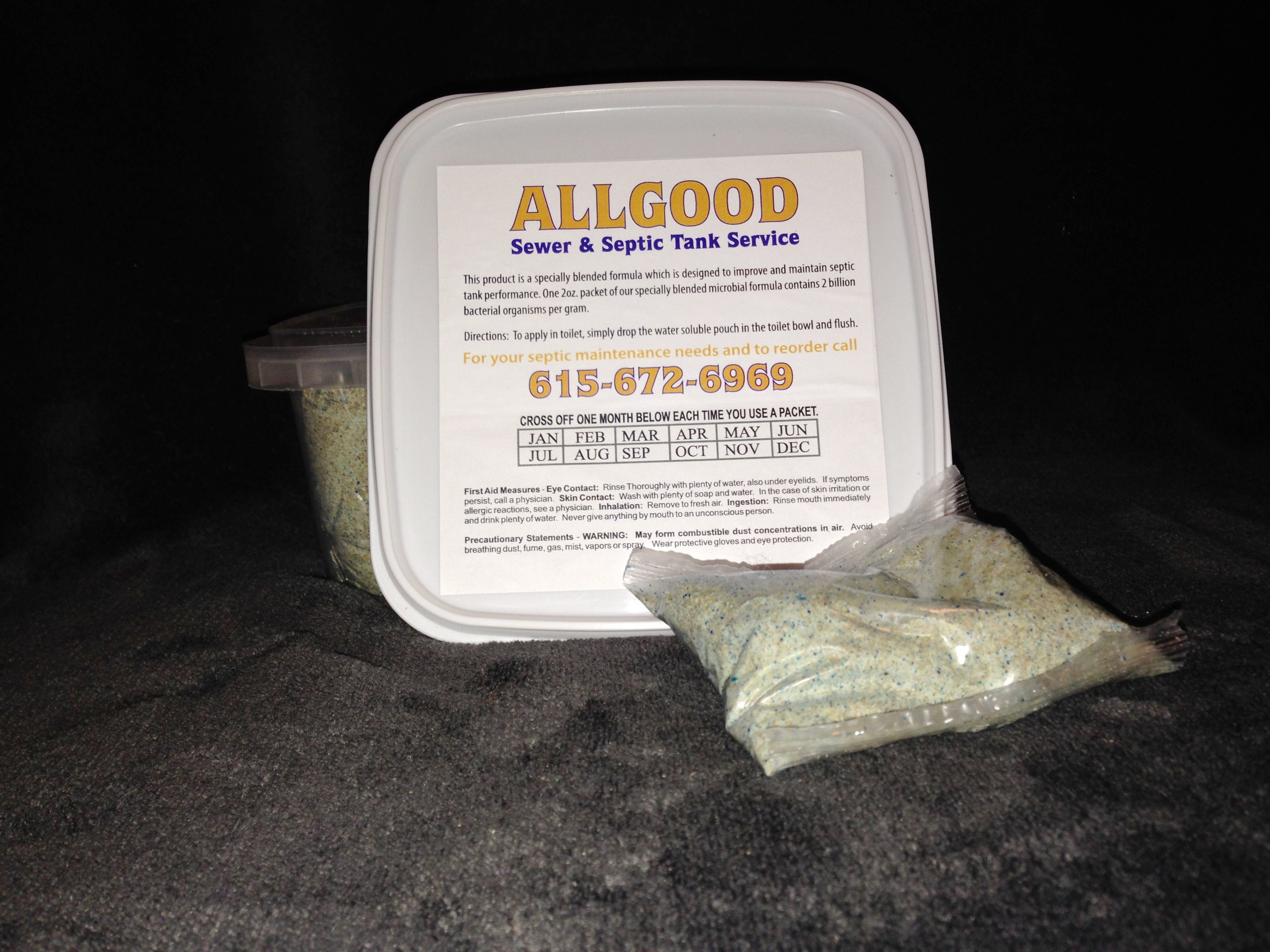 packet & container of septic enzymes from Allgood