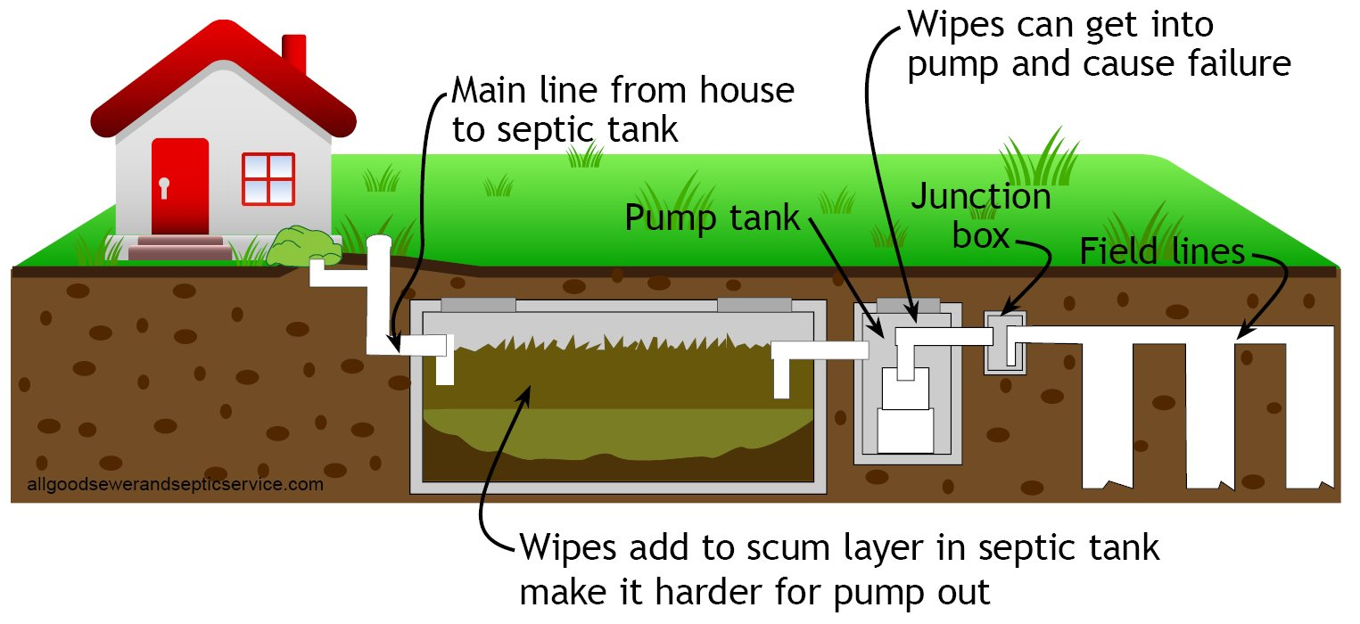 Disposable wipes could be the time bomb in your septic tank, diagram shows where wipes tend to cause problems in septic system.