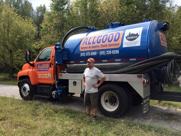 Allgood Sewer and Tank Service - truck and owner
