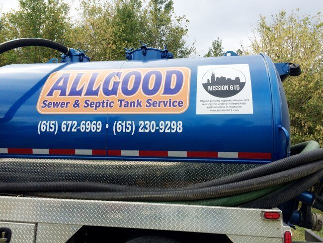 Allgood's tank truck now has a sticker with Mission 615 contact information.