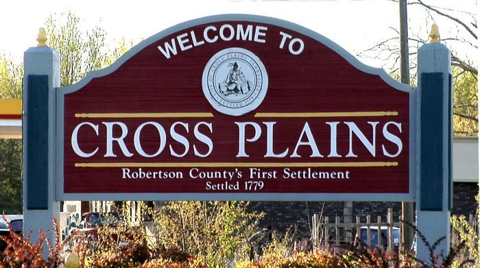 Sign for Welcome to Cross Plains TN